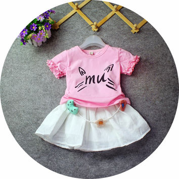 Cat print t shirt two-piece  kid Clothing set
