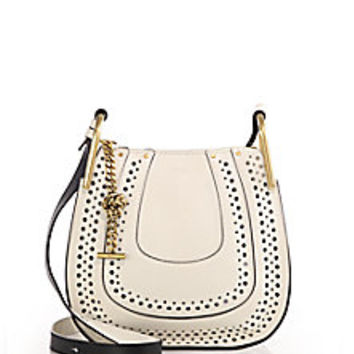 Chloé - Hayley Small Perforated Leather Crossbody Bag - Saks Fifth Avenue Mobile