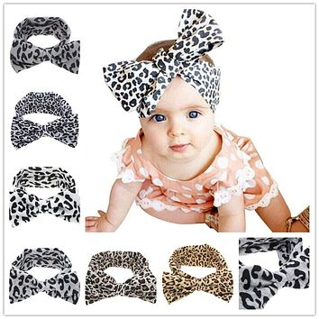 Little Girls Kids Soft Stretch headband Big Bow Turban Bowknot Hairband Leopard Head Wrap Hair Band Accessories  1pc HB510