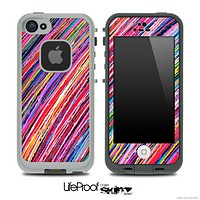 Abstract Neon Sketched Stripes V3 Skin for the iPhone 5 or 4/4s LifeProof Case