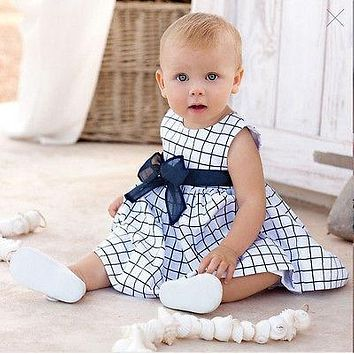 New 2017 Baby Toddler Girls Kids Plaid Bownot Sleeveless Dress Outfit Pricess Clothes Dresses