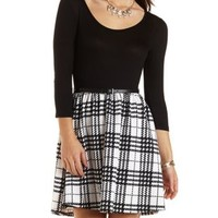 Belted Plaid Skater Dress by Charlotte Russe - Black Combo