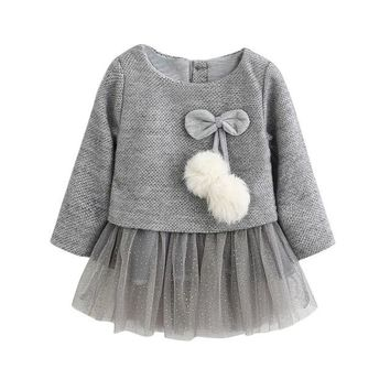 Baby Girl Clothes : Knitted Bow Princess Dress