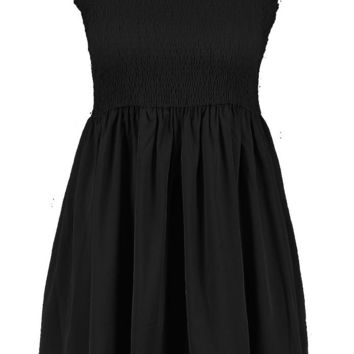 Plus Tie Sleeve Sheared Skater Dress | Boohoo