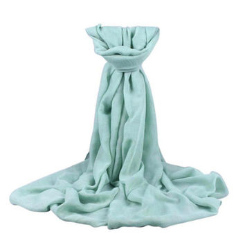 Blanket Scarf  Women Long Wrap Shawl Scarf Mint Green Solid Soft Cotton Warm Schal Ponchos And Capes#B830