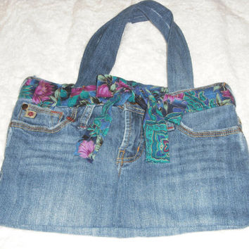 Recycled purse Denim purse Hand bag Denim jean purse Up-cycled purses Blue jean purse Gifts for her Girls bag Denim bag © Jack Jack's Wayart