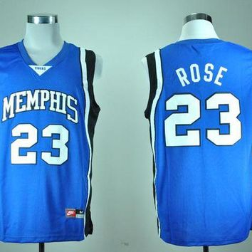 DCCKD9A Nike Memphis Tigers Derrick Rose 23 White College Ice Hockey Jerseys blue  S,M,L,XL,2XL,3XL