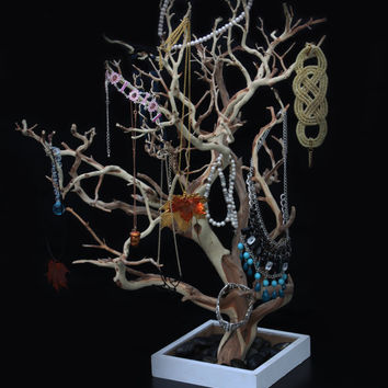 Natural Wood, Sand Blasted Manzanita Branch Jewelry Tree, Unique Jewelry Display holder, Real Tree Branch Jewelry Organizer, Centerpiece