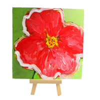 Red Flower Small Original Abstract Painting by MyDifferentStrokes
