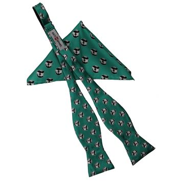 Embroidered Natty Boh Logo Pattern (Green) / Self-Tie Bowtie + Pocket Square *BUNDLE*