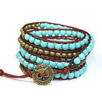 Turquoise Wrap Bracelet Dark red Leather Cord Natural Turquoise Beads antique gold owl button five times wrap