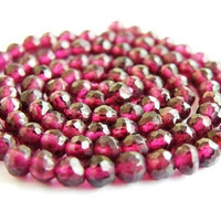 Exceptional AAA Garnet Gemstone Micro Faceted Israeli Cut Round 4mm, Full Strand, Wholesale
