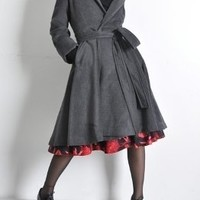 Charcoal Grey Cashmere Hooded Trench Swing Coat