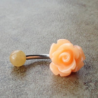 Peach Rose Flower Belly Button Jewelry Ring Rose Bud