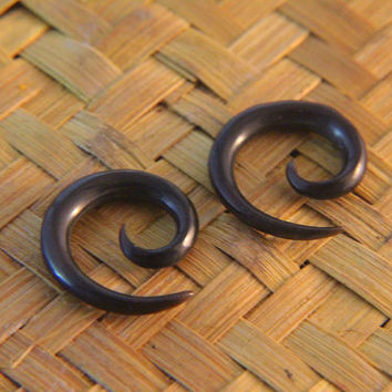 "6g Gauges Spiral Horn Earrings 5/32"" 4mm 6ga Ear Gauge Spiral Design, Pair of 6g Horn Gauges Earrings"