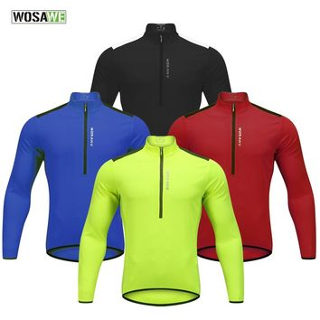 2018 Spring Summer Cycling Jacket Half Zipped Long Sleeve Bike Shirt Bicycle Clothing Men Women Quick Dry Breathable Wind Jacket