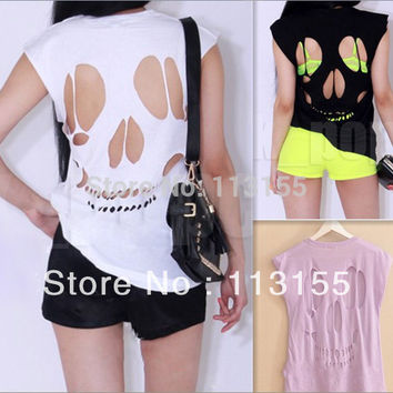 NEW WOMEN'S LADIES SLEEVELESS LONG CUT OUT BACK SKULL T SHIRT WOMENS TOP Sexy t-shirts