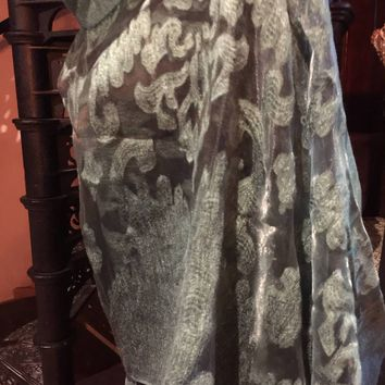 Vitage Styled Sheer fortest green wrap Shawl