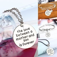 Family Gifts Charm Heart Pendants Necklace Love Between Mother And Son Bracelet Bangle Mom Mommy Jewelry Mother's Day Presents