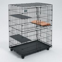 "Cat Playpen With 3 Shelves And Bed -  35.75"" X 23.5"" X 51"""