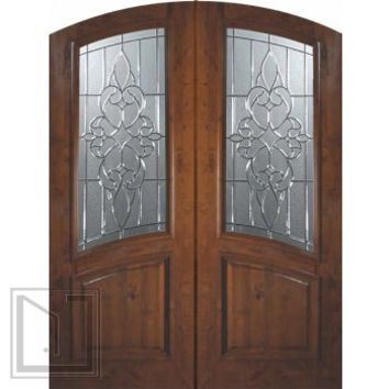 Slab Double Door 96 Wood Alder Courtlandt Arch Top Arch Lite Glass
