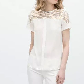 White Cutout Lace Short-Sleeve Chiffon Blouse