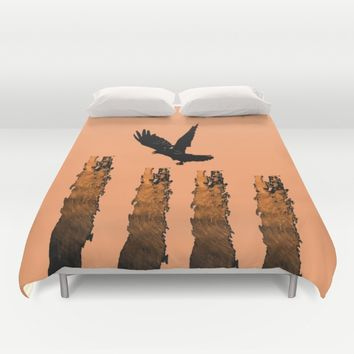 Crow Prey Duvet Cover by ES Creative Designs