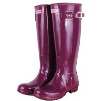 HUNTER ORIGINAL GLOSS TALL DARK RUBY WELLINGTON BOOTS  Welly PURPLE BN PLUM