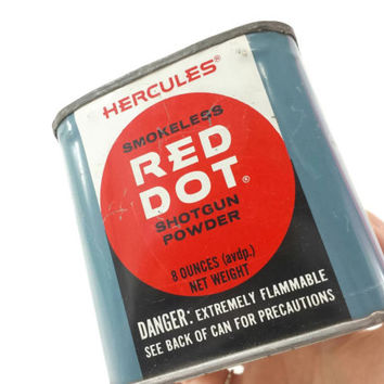 Vintage Shotgun Powder Tin, Hercules Red Dot, Collectible Tin, Advertising, Hunting, Sports, Outdoors, Man Cave, Gifts for Him,Pencil Holder