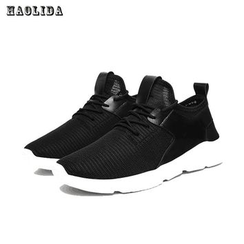 Haolida New Men Casual Shoes Lace Up Fashion Brand Mesh Spring Summer Shoes Flats Solid Men Breathable Shoes Fashion Mens Shoes