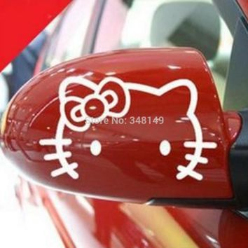 Aliauto 2 x Funny Hello Kitty Car rearview mirror Stickers and Decal Accessories for Volkswagen polo golf 5 7 Mzda peugeot 206