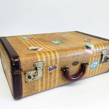 Vintage Luggage, Vintage Suitcase, Aviation Gifts, Antique Suitcase, Travel Decor, Tweed Suitcase, Mid Century Bag, Wanderlust Gifts
