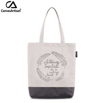 Canvasartisan women's tote shoulder bag waterproof stylish printed female handbag shopping travel daily book storage bags