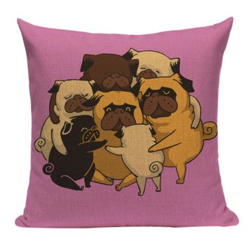Pug Group Hug Pillow PUG4