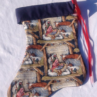 Personalized Nativity Christmas stocking, fully lined and finished seams