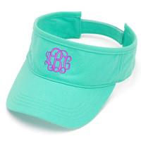 Monogrammed MINT Sun Visor Hat Font shown INTERLOCKING in lavender
