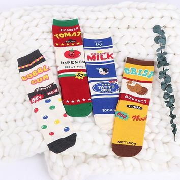 Men Creative Funny Socks Happy Cotton Colorful Fun Socks Women Milk Box Pattern Candy Tomato Cookies Stripe Patchwork Crew Socks
