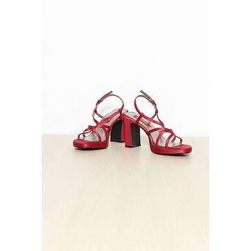 Red Satin Caged Block Heels / Size 7.5