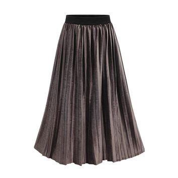Women Clothing Spring New Style High Waist Penuche Pleated Skirts All Matched Slim Skirt Fashion