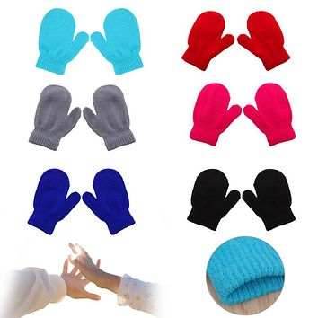 Knitting Winter Warm Soft Gloves Kids Boys Girls Candy Colors Mittens