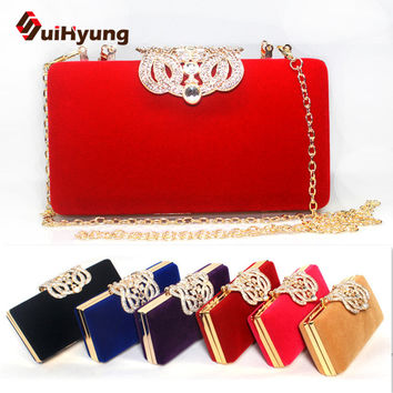 Lowest Price Women's Bags Fashion Design Diamond Party Evening Bags Velvet Handbags Wedding Crystal Samll Clutch Purse Crossbody