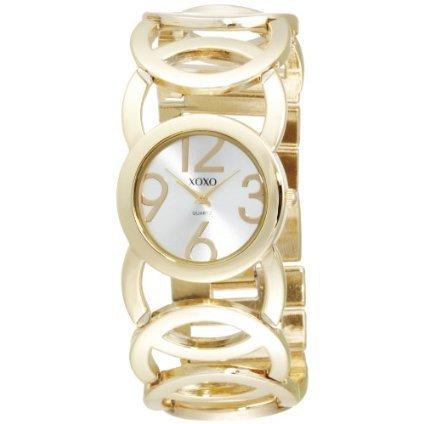 XOXO Women's XO5211 Silver Dial Gold-tone Open Link Bracelet Watch - designer shoes, handbags, jewelry, watches, and fashion accessories   endless.com