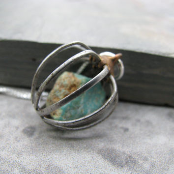 Natural turquoise nugget cage necklace, turquoise necklace, industrial vintage cage, raw stone jewelry, southwest style, bohemian jewelry