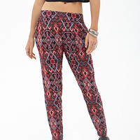 FOREVER 21 Abstract Geo Harem Pants Black/Red