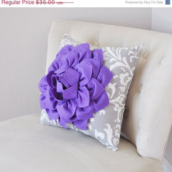 MOTHERS DAY SALE Pillows---Lavender Dahlia Flower, Gray Damask, Gift for Her, Unique Pillow
