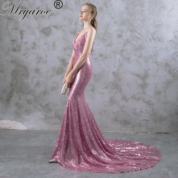Real Picture Sparkled Gorgeous Mermaid Long Rose Pink Prom Dresses Spaghetti Criss Cross Straps Glitter Sequin Evening Gowns