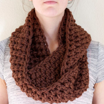 Brown Infinity Scarf, Chunky Infinity Cowl Scarf, Crochet Circle Scarf Cowl