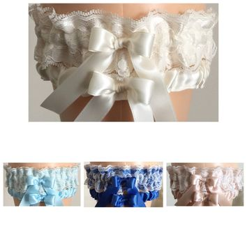 Ivory Lace Wedding Garter Set, Ivory Bridal Garter Set, Prom Garter, Ivory Weddings, Custom