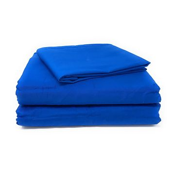Tache Cotton Solid Deep Blue Bed sheet (Flat Sheet)