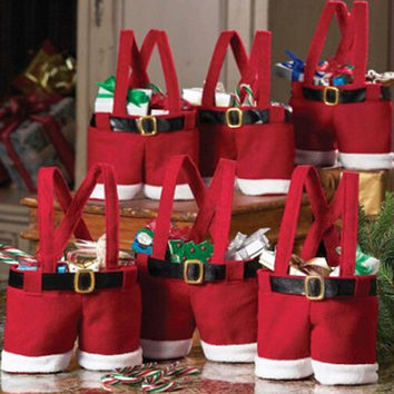 Cute Christmas Santa's Red Pants Mode Candy Sweet Bag Trick-or-treat Bags XMAS Wedding Gift Bags(Quantity:1) S/M/L